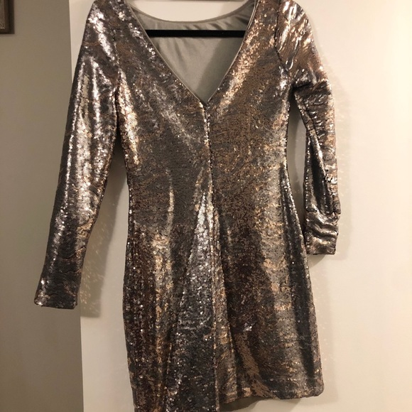 Bronze & Silver Shimmer BodyCon Mini Dress